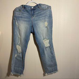 SLINK Boyfriend Style Distressed Jeans Plus Size